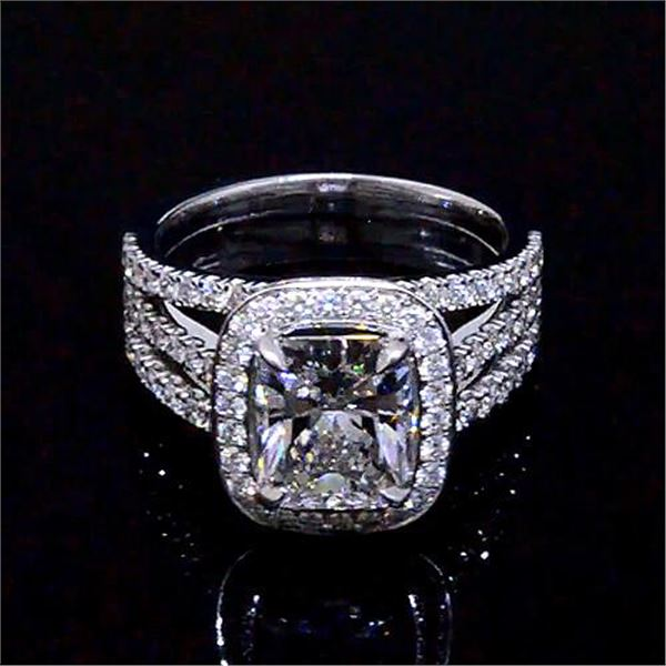 Natural 3.32 CTW Halo Radiant Cut Diamond Engagement Ring 14KT White Gold