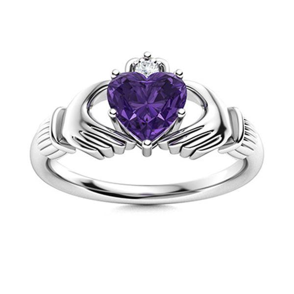 Natural 1.59 CTW Amethyst & Diamond Engagement Ring 18K White Gold