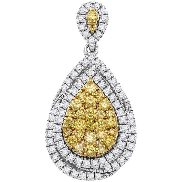 14kt White Gold Womens Round Yellow Diamond Teardrop Cluster Pendant 1-1/2 Cttw