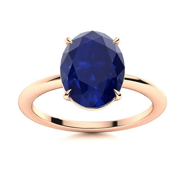 Natural 2.79 CTW Sapphire Solitaire Ring 18K Rose Gold