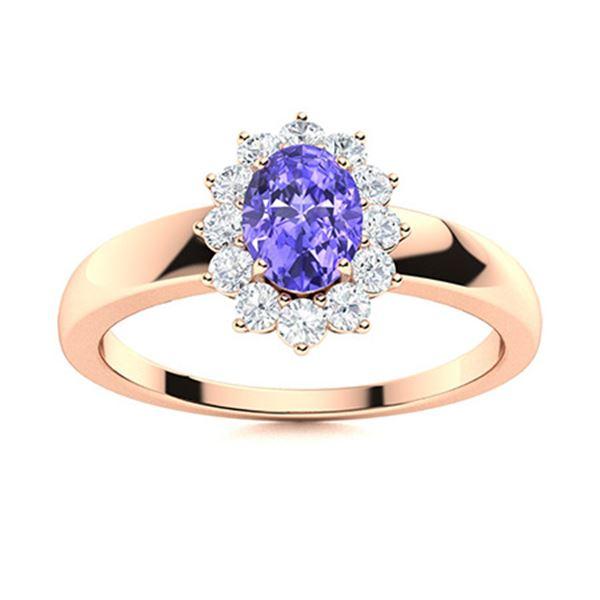 Natural 0.69 CTW Tanzanite & Diamond Engagement Ring 14K Rose Gold