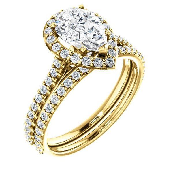Natural 2.72 CTW Halo Teardrop Pear Cut Diamond Engagement Set 18KT Yellow Gold