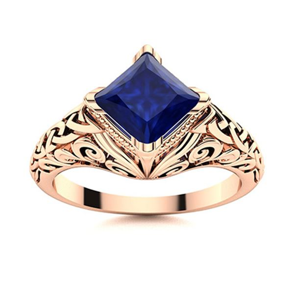 Natural 1.51 CTW Sapphire Solitaire Ring 18K Rose Gold