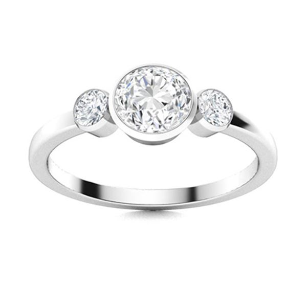 Natural 0.82 CTW Diamond Solitaire Ring 18K White Gold