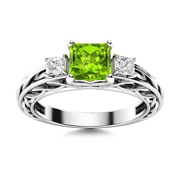 Natural 0.85 CTW Peridot & Diamond Engagement Ring 14K White Gold