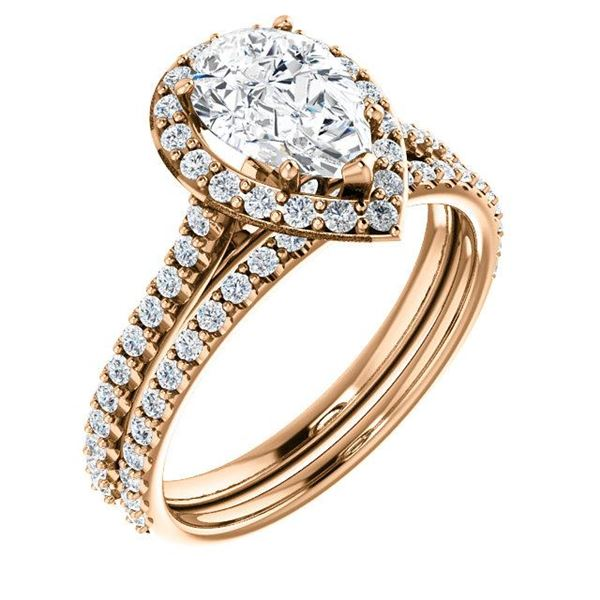 Natural 2.22 CTW Halo Teardrop Pear Cut Diamond Engagement Set 14KT Rose Gold