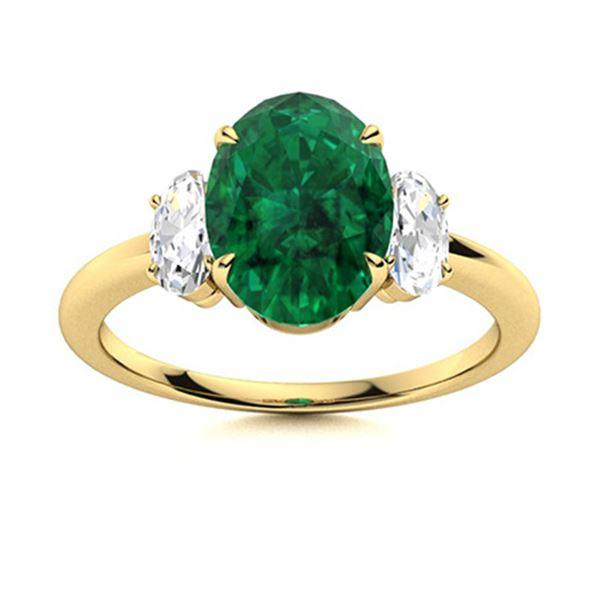 Natural 1.62 CTW Emerald & Diamond Engagement Ring 14K Yellow Gold