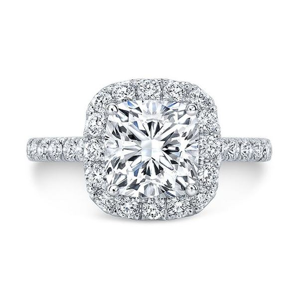 Natural 1.72 CTW Halo Cushion Cut Diamond Engagement Ring 14KT White Gold