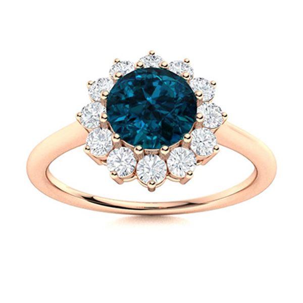 Natural 1.07 CTW Topaz & Diamond Engagement Ring 14K Rose Gold