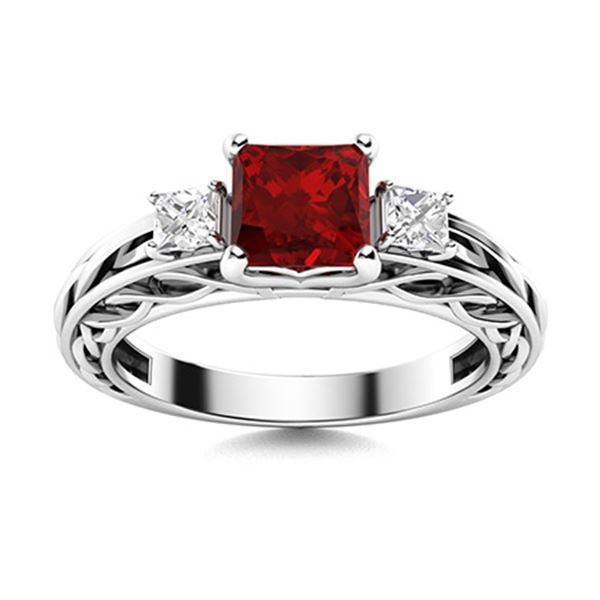 Natural 1.25 CTW Garnet & Diamond Engagement Ring 18K White Gold