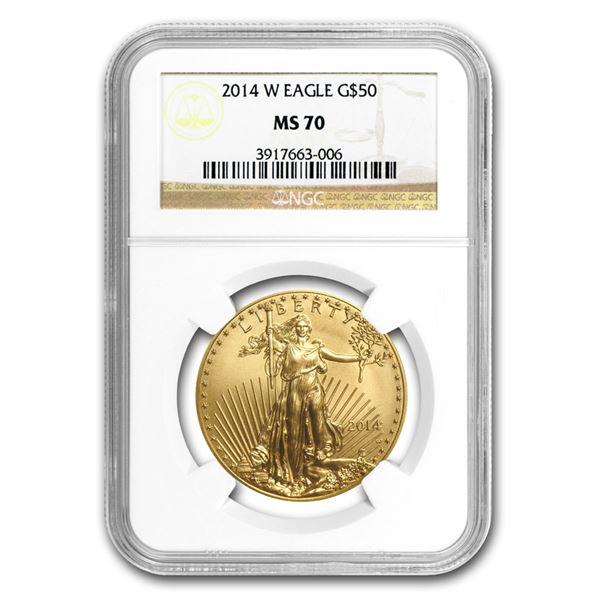 2014-W 1 oz Burnished Gold Eagle MS-70 NGC (Various Labels)