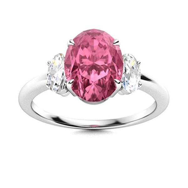 Natural 5.14 CTW Tourmaline & Diamond Engagement Ring 18K White Gold