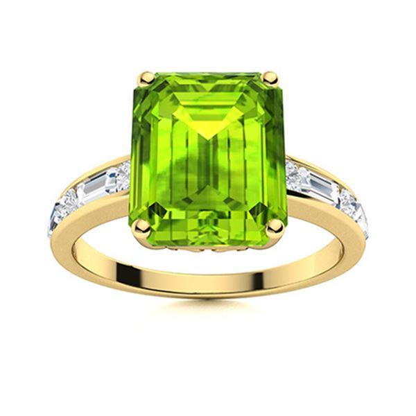 Natural 5.06 CTW Peridot & Diamond Engagement Ring 18K Yellow Gold
