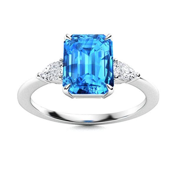 Natural 3.36 CTW Topaz & Diamond  Engagement Ring 14K White Gold
