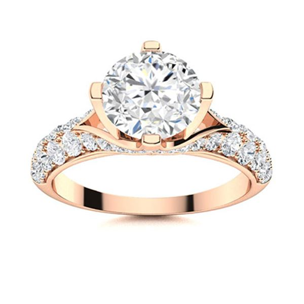 Natural 2.08 CTW Diamond Solitaire Ring 14K Rose Gold