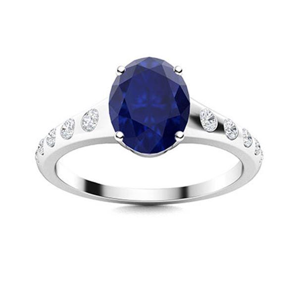 Natural 2.10 CTW Sapphire & Diamond Engagement Ring 14K White Gold