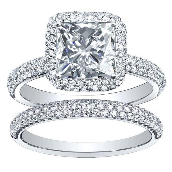 Natural 3.47 CTW Princess Cut Halo Pave Diamond Engagement Ring 14KT White Gold