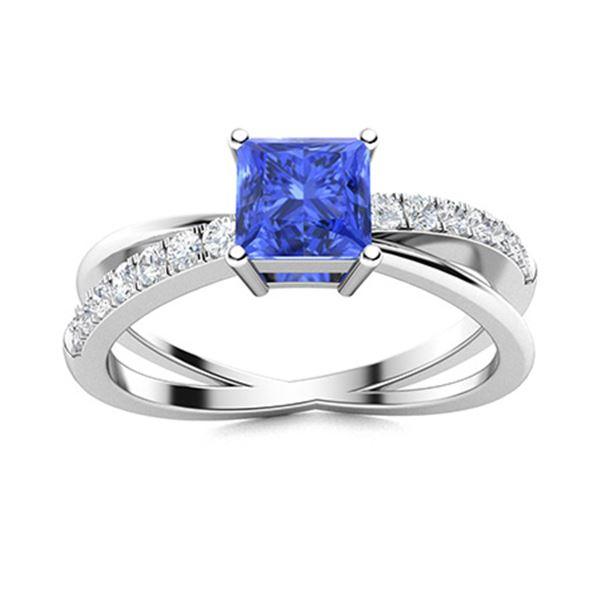Natural 1.24 CTW Ceylon Sapphire & Diamond Engagement Ring 14K White Gold