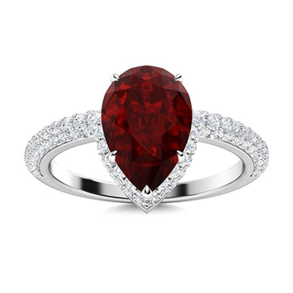 Natural 2.22 CTW Garnet & Diamond Engagement Ring 18K White Gold