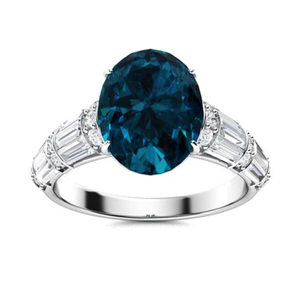 Natural 4.45 CTW Topaz & Diamond Engagement Ring 18K White Gold