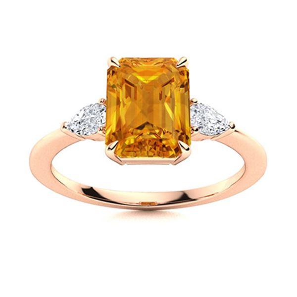 Natural 2.93 CTW Citrine & Diamond Engagement Ring 18K Rose Gold