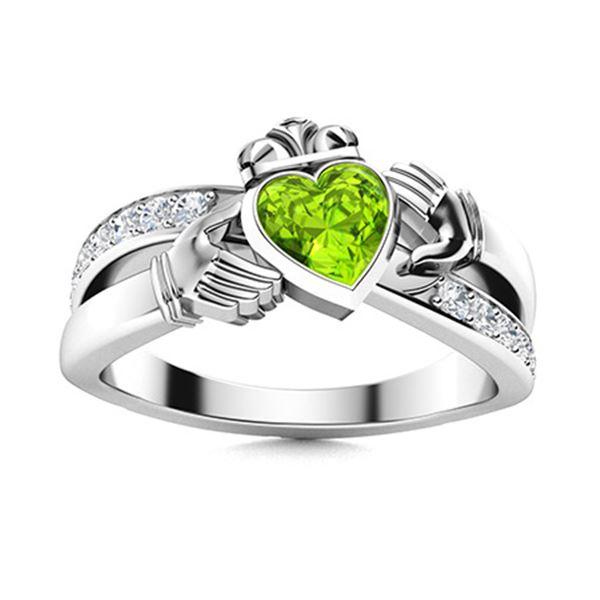 Natural 0.72 CTW Peridot & Diamond Engagement Ring 18K White Gold