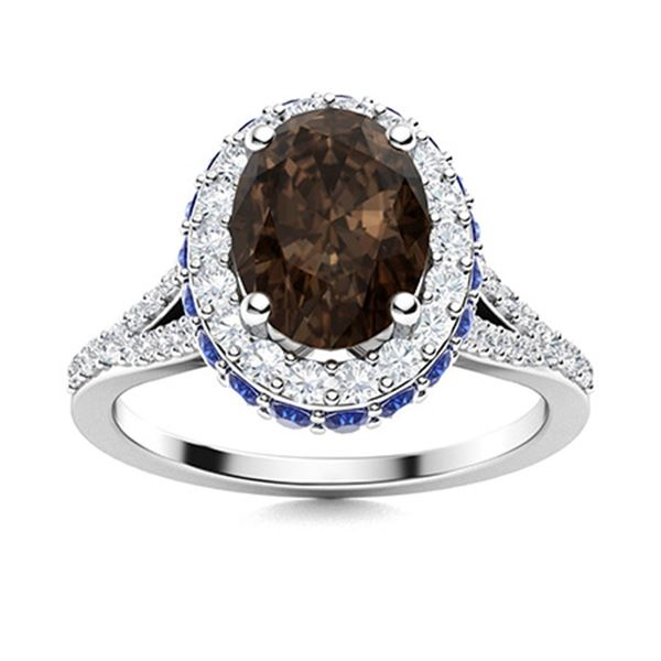 Natural 2.13 CTW Smoky Quartz, Sapphire & Diamond Engagement Ring 18K White Gold