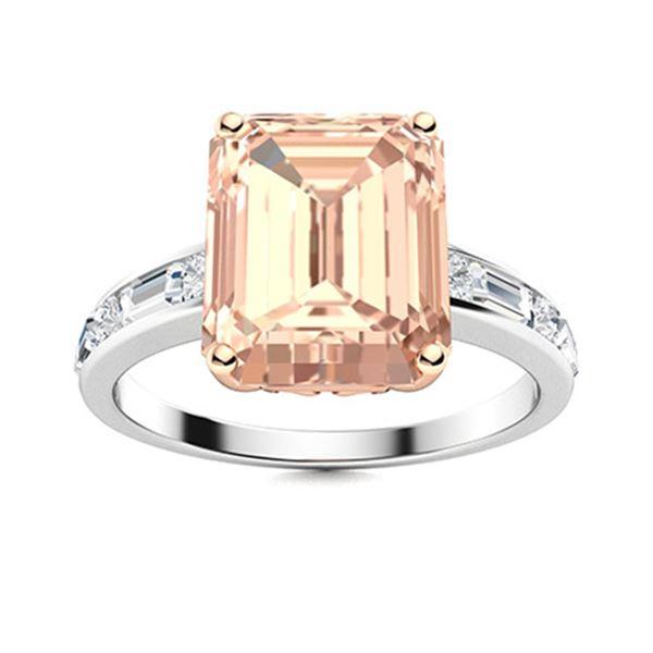 Natural 2.99 CTW Morganite & Diamond Engagement Ring 18K White Gold