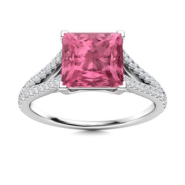 Natural 1.17 CTW Tourmaline & Diamond Engagement Ring 18K White Gold