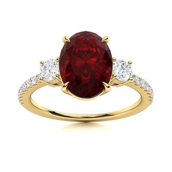 Natural 3.39 CTW Garnet & Diamond Engagement Ring 18K Yellow Gold