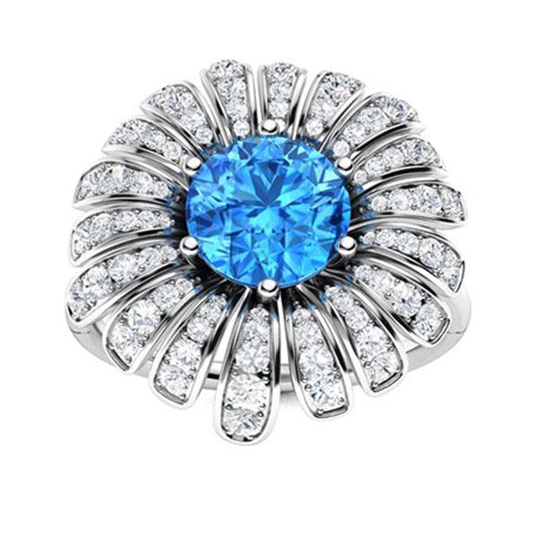 Natural 1.70 CTW Topaz & Diamond Engagement Ring 14K White Gold