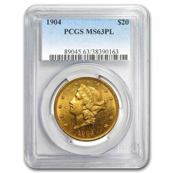 1904 $20 Liberty Gold Double Eagle MS-63 PCGS (PL)