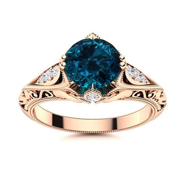 Natural 1.18 CTW Topaz & Diamond Engagement Ring 18K Rose Gold