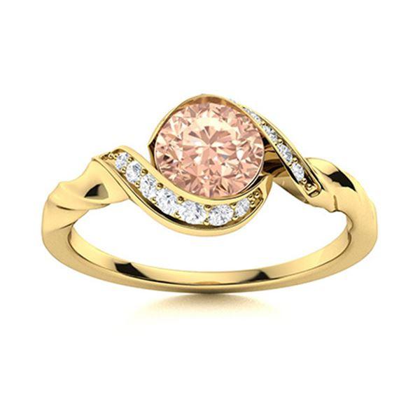 Natural 1.35 CTW Morganite & Diamond Engagement Ring 18K Yellow Gold