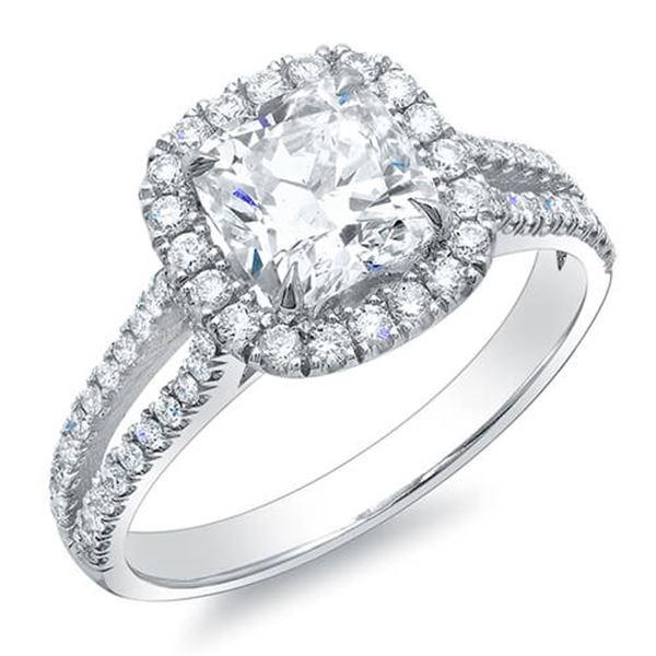 Natural 3.07 CTW Halo Cushion Cut Split Shank Diamond Ring 18KT White Gold