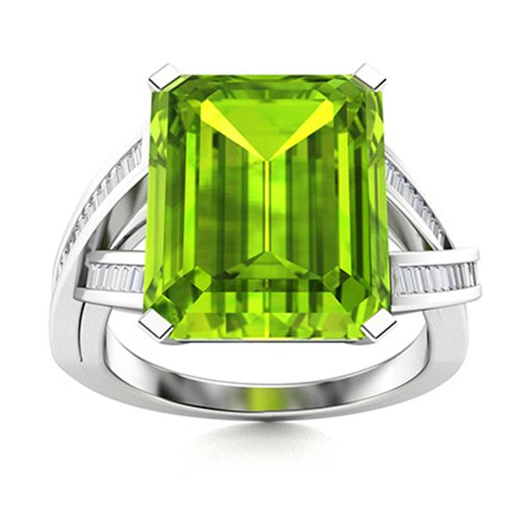 Natural 3.10 CTW Peridot & Diamond Engagement Ring 14K White Gold