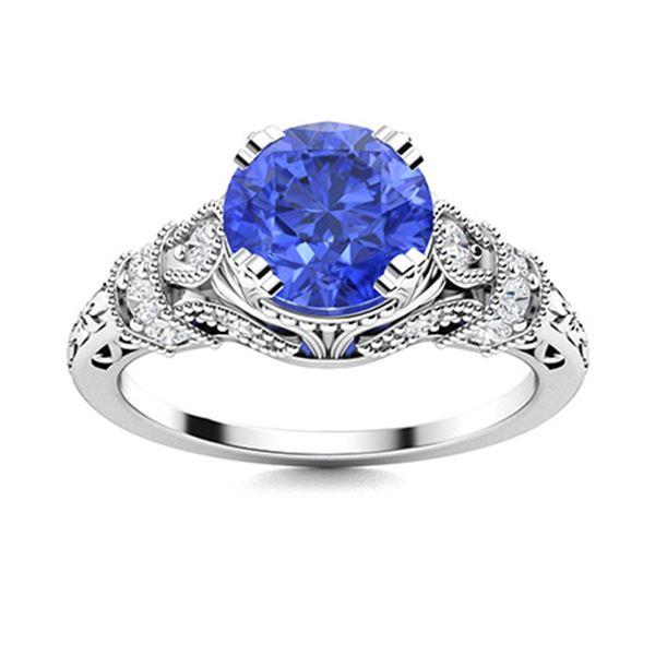 Natural 1.36 CTW Ceylon Sapphire & Diamond Engagement Ring 18K White Gold
