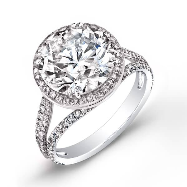 Natural 3.42 CTW Halo Round Brilliant Cut Pave Diamond Engagement Ring 14KT White Gold
