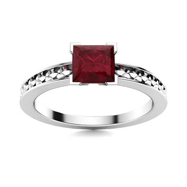 Natural 1.51 CTW Ruby Solitaire Ring 18K White Gold