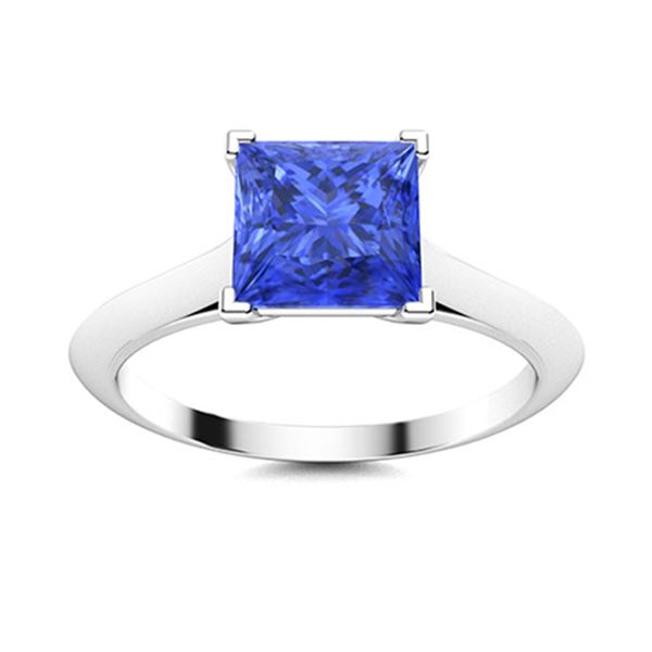 Natural 1.50 CTW Ceylon Sapphire Solitaire Ring 14K White Gold
