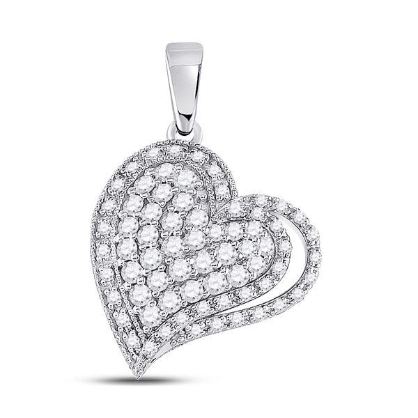 14kt White Gold Womens Round Diamond Heart Pendant 5/8 Cttw