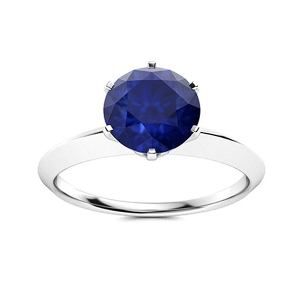 Natural 1.32 CTW Sapphire Solitaire Ring 18K White Gold