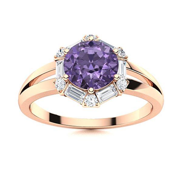 Natural 1.36 CTW Iolite & Diamond Engagement Ring 18K Rose Gold
