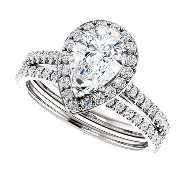 Natural 3.52 CTW Halo Teardrop Pear Cut Diamond Engagement Set 14KT White Gold