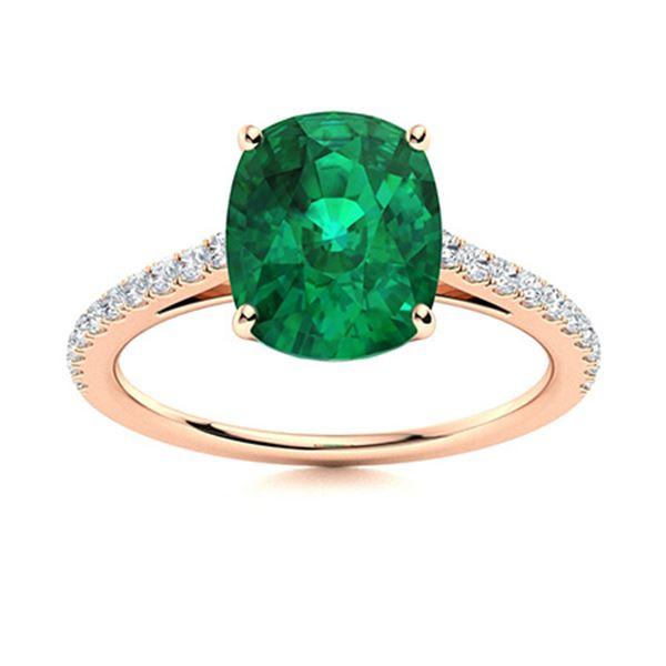 Natural 3.10 CTW Emerald & Diamond Engagement Ring 14K Rose Gold