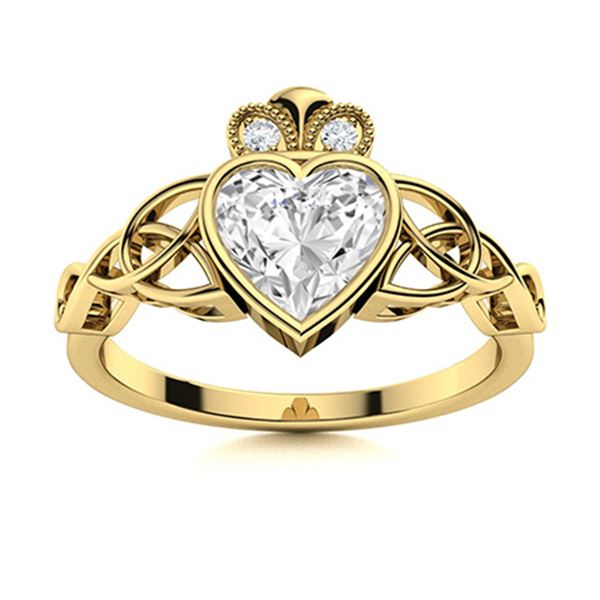 Natural 0.92 CTW Topaz & Diamond  Engagement Ring 18K Yellow Gold