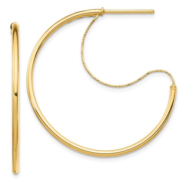 14k Yellow Gold Polished with D/C wire Hoop Earrings - 1.5x30 mm