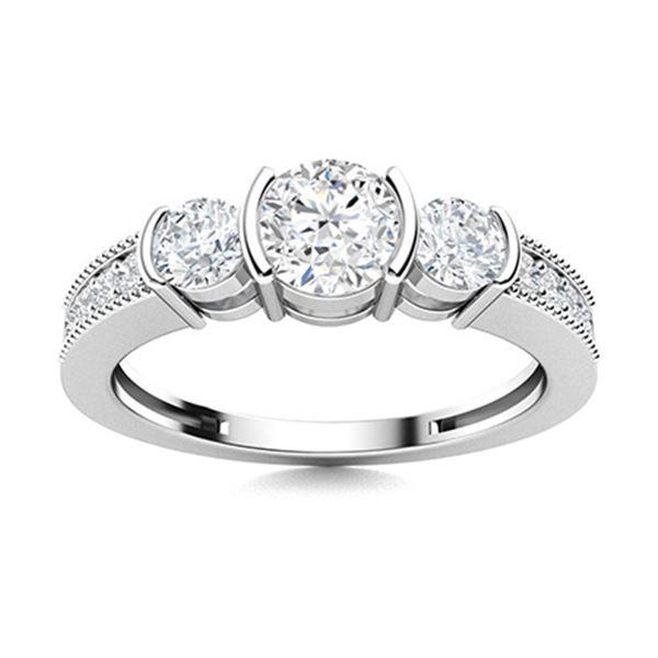 Natural 0.89 CTW Topaz & Diamond Engagement Ring 18K White Gold