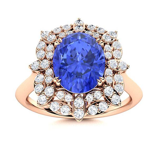 Natural 2.35 CTW Ceylon Sapphire & Diamond Engagement Ring 18K Rose Gold