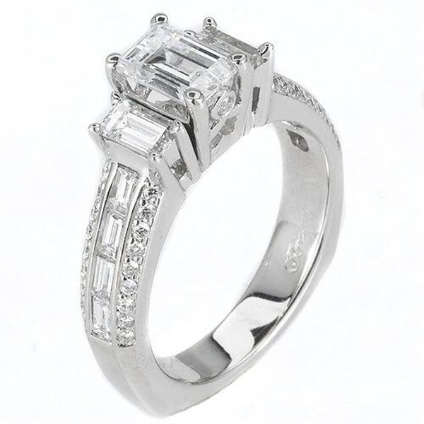 Natural 2.62 CTW Emerald Cut & Baguettes Diamond Engagement Ring 14KT White Gold